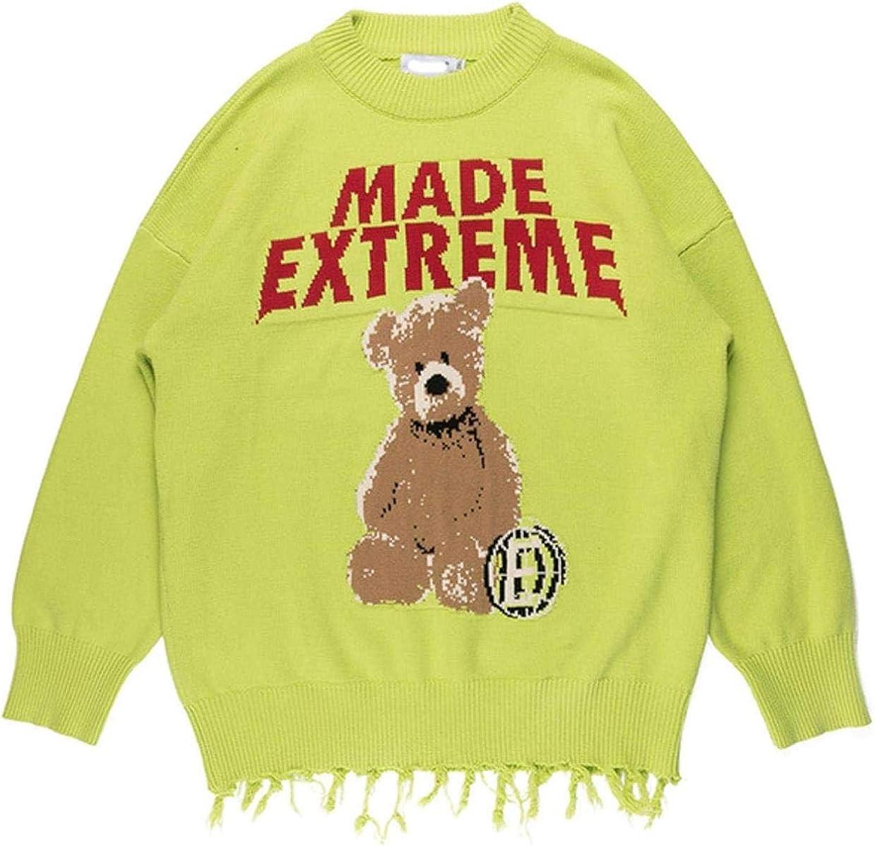 WSBD Sweater Men Hit Color Cartoon Bear Tassel Knitted Pullover Men High Street Men Streetwear Couple