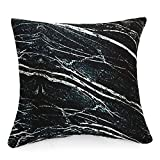 WOWMAX Three-Dimensional Curve Square Living Stones Floor Pillows Home Decoration Stuffed Throw Pillows Big Rock Pillows New Pebble Pillows Photo Or Film Props 17x17Inches Black Marble
