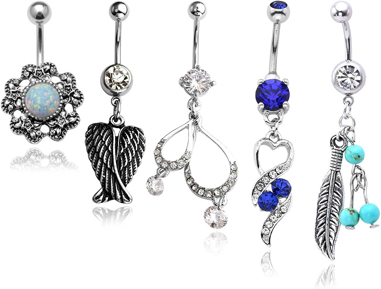 PiercingJ 5pcs 14G Stainless Steel Dangle Belly Button Rings for Women Crystal Curved Barbell Navel Rings Body Piercing Jewelry