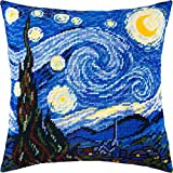Starry Night by Vincent Van Gogh. Needlepoint Kit. Throw Pillow 16×16 Inches. Printed Tapestry Canvas, European Quality