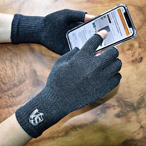 Vital Salveo -Stretchy Unisex Half Finger Texting Circulation Fingerless Recovery Arthritis Gloves (Pair)-Large-Dark Grey
