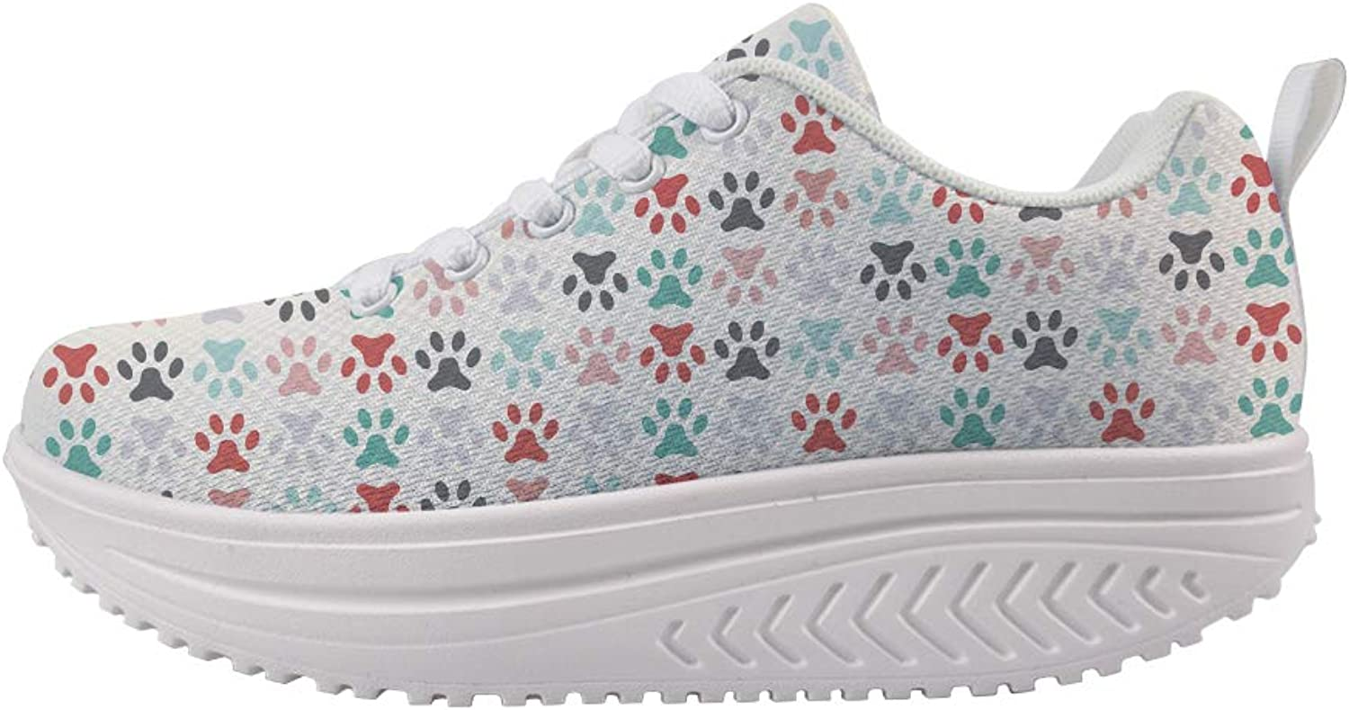 Owaheson Swing Platform Toning Fitness Casual Walking shoes Wedge Sneaker Women colorful Pet Paw Print