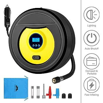 FREESOO Tyre Inflator Digital Car Tyre Pump 12V Portable Air Compressor Pressure  Gauge with LED Light: Amazon.co.uk: Car & Motorbike