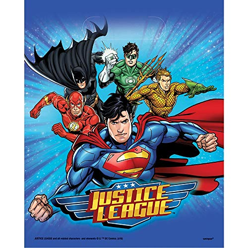 Neu: 8 Partytüten * Justice League * für Kindergeburtstag und Motto-Party   Kinder Geburtstag Mitgebsel Tüten Superheld Batman Flash Aqua Man Superman