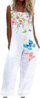 keepwo Women's Baggy Wide Leg Dungarees Straight Leg Print Overalls Small Fresh Printed Jumpsuits