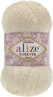 96% Microfiber Acrylic Yarn Alize Forever Simli Thread Crochet Knitting Art Summer Yarn Lot of 4 skn 200 gr 1220 yds (1 Cream)