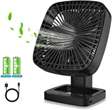 Ventilateur de Bureau Portable, Ventilateur Silencieux avec Batterie 5000 mAh, Chargement USB, 4 Vitesses, avec Fonction d...