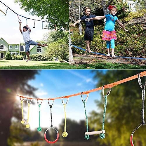 DYL&CDAI hängen Ausbildung Kinder Ninja Seillinie Hindernis Training, Sportgeräte für Kinder Spaß Slacklinen, Jungen und Mädchen Kletterausrüstung