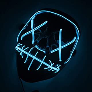 CI.UU Halloween Scary Mask Purge Mask Cosplay Costume Mask LED Light Up Mask for Christmas Halloween Festival Party