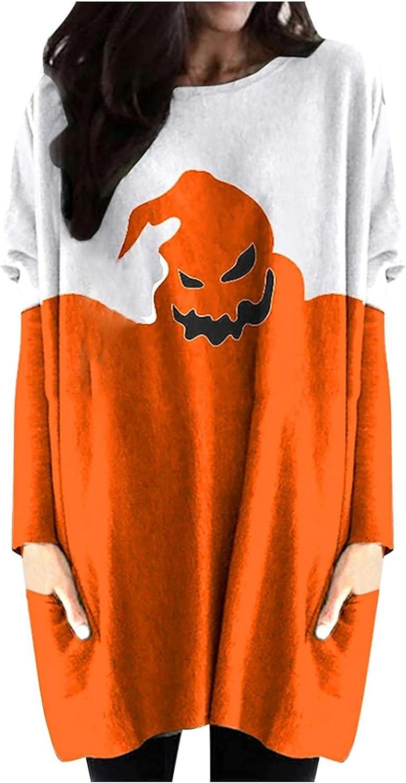 Halloween Long-Sleeve Sweatshirt Pumpkin Brand new Popular popular Long- Neck Print Round