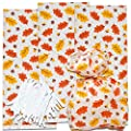 100 Thanksgiving Cellophane Bag Plastic Fall Leaves Treat Favor Bags Autumn Harvest Themed Birthday Party Supplies Decorations for Kids Classroom Reward, Carnival Candy Goodie Grab Bag Gift Boutique