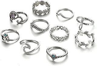 Zealmer Gudukt Knuckle Ring Set Vintage Silver Crown Unicorn Elephant Yoga Wave Religious Joint Knuckle Rings