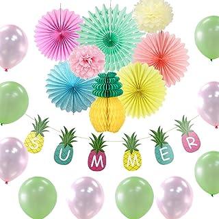 PRETYZOOM 19 Piezas Decoraciones de Fiesta Tropical de Verano Piña Panal Papel de Seda Ventilador Flores Globo para Playa Luau Suministros de Fiesta Hawaiana