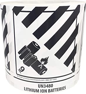 Hazard Class 9 D.O.T. UN3480 Lithium Ion Batteries Labels 4 x 4 3/4 Inch Square 500 Adhesive Stickers