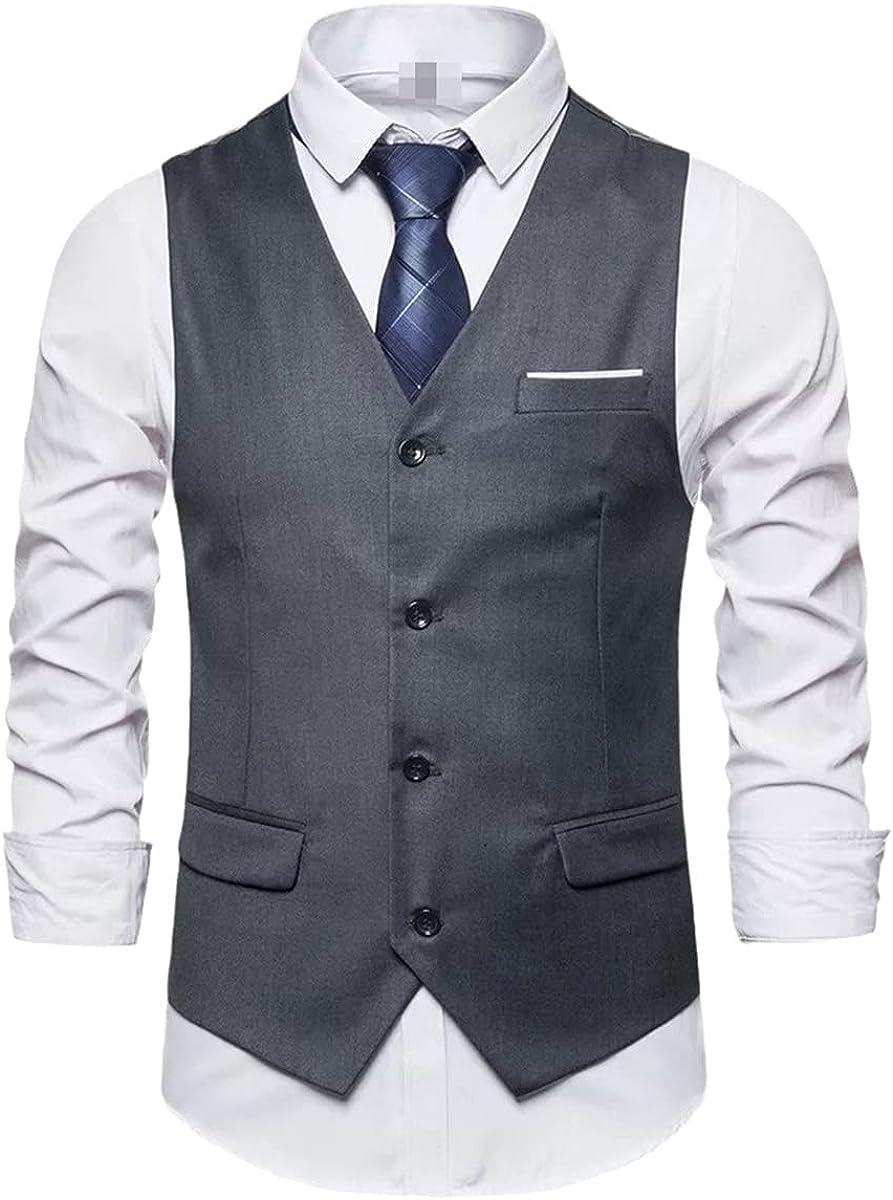 Men's solid color vest wedding party best man gentleman sleeveless business classic suit vest