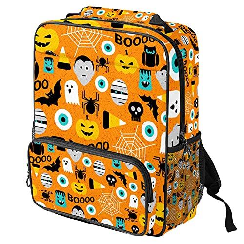 Zaino casual per computer portatile, borsa da lavoro alla moda con stampa a motivo di Halloween per donne/ragazze/uomini