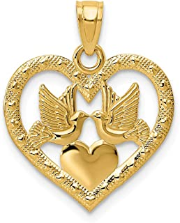 14k Yellow Gold Doves In Heart Pendant Charm Necklace Love Fine Jewelry Gifts For Women For Her