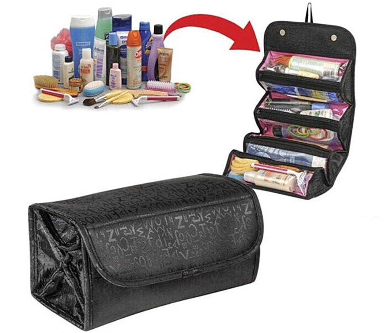 ファッション外国人ウィザードCosmetic Bag DE LAMP Round Roll-N-GO Makeup Case Travel Pouch Smart Toiletry Bag 2 pack