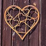 Edelrost Herz zum Hängen mit Innenherzen klein 30 cm, inkl. Herzle 8x6cm Wandschmuck Geschenk