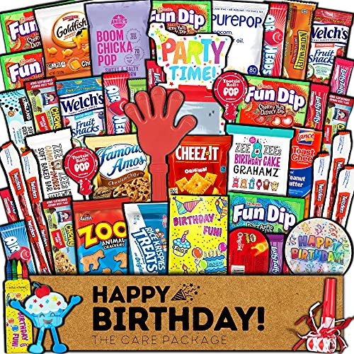 Birthday Care Package (45 Count) Snacks Food Cookies Chocolate Bar Chips Candy Party Variety Gift Box Pack Assortment Basket Bundle Mix Bulk Sampler Treat College Students Kids Teens Office School