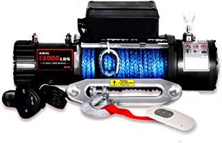 X-BULL 12V Waterproof Synthetic Rope Winch-13000 lb. Load Capacity IP67 (Black)