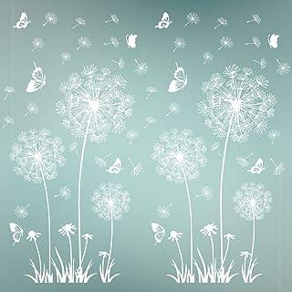 2pcs Pegatinas Pared Vinilos Adhesivos Decorativos Pared Stickers Pared Flores Diente de León y Mariposas para Ventana Habitación Dormitorio Blanco