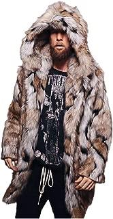 wuliLINL Men's Casual Leopard Faux Fur Cardigan Jacket Leopard Coat Stand Collar Lightweight Long Outwear Tops