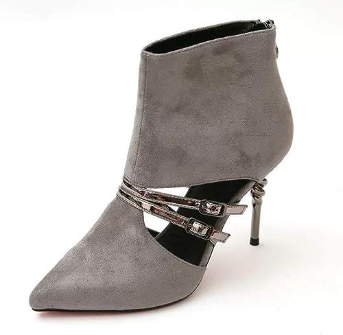 Yanyan Chaussures à la Mode pour Femmes Bottes à Talons en Spirale Pointues à Fermeture à glissière Bottillons à Fermeture à glissière Boucle à la Mode avec des Bottes à Talons Creux Creux