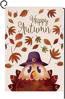 BLKWHT 121985 Happy Autumn Thanksgiving Cartoon Turkey Small Garden Flag عمودي مزدوج الجوانب 12.5 x 18 بوصة Fall Leaves Ya...