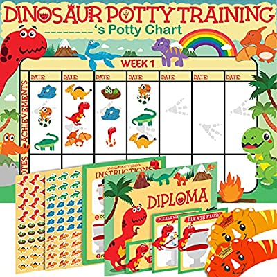 Potty Training Chart for Toddlers Dinosaur Design - Sticker Chart - 4Week Reward Chart, 194 Cool Stickers, Certificate, Instruction Booklet & Motivational Cards - Bonus Celebratory Hat from COZY GREENS