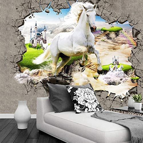 Msrahves Fotomural TV Resumen caballo blanco castillo paisaje Papel Pintado Fotográfico Fleece no-trenzado Salón Dormitorio Despacho Pasillo Decoración murales decoración de paredes moderna