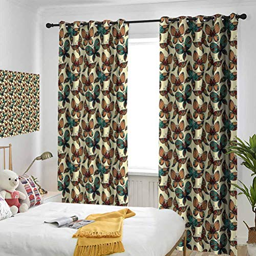 Vintage Butterflies Figures with Rich Ornaments Artistic Design Fragility Freedom Beauty Multicolor Bedroom blackout curtains Three-layer braided noise reduction ring top shade curtain W84 x L72 Inch