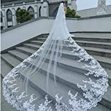 GYMAN Velo de novia de la catedral de la longitud de los velos de boda con peine 3M de encaje velo largo blanco accesorios de encaje