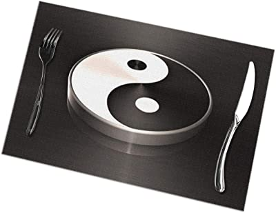 """Yin Yang Placemats Table Mats 12""""x18"""" Set of 6, Washable Waterproof Non-Slip Microfiber Heat-Resistant Insulation Stain Resistant Place Mat for Dining Room Kitchen Table Decoration"""