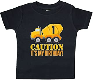 inktastic - 1st Birthday Construction Truck, Cement Mixer Baby T-Shirt 2c77a