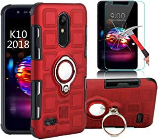 LG Stylo 4 Case/Q Stylo/Stylus 4/Stylo 4 Plus Case with HD Screen Protector, EDSAM Dual Layer Shockproof Case with 360 Degree Rotating Ring Kickstand Fit Magnetic Car Mount for LG Stylo 4 (Red)