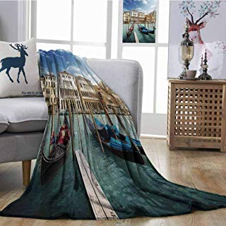 Home Throw Blanket Italian Gondolas in The Venetian Adriatic Lagoon Historical Venezia Photo Blue Sand Brown Almond Green Bedroom Warm W70 xL84