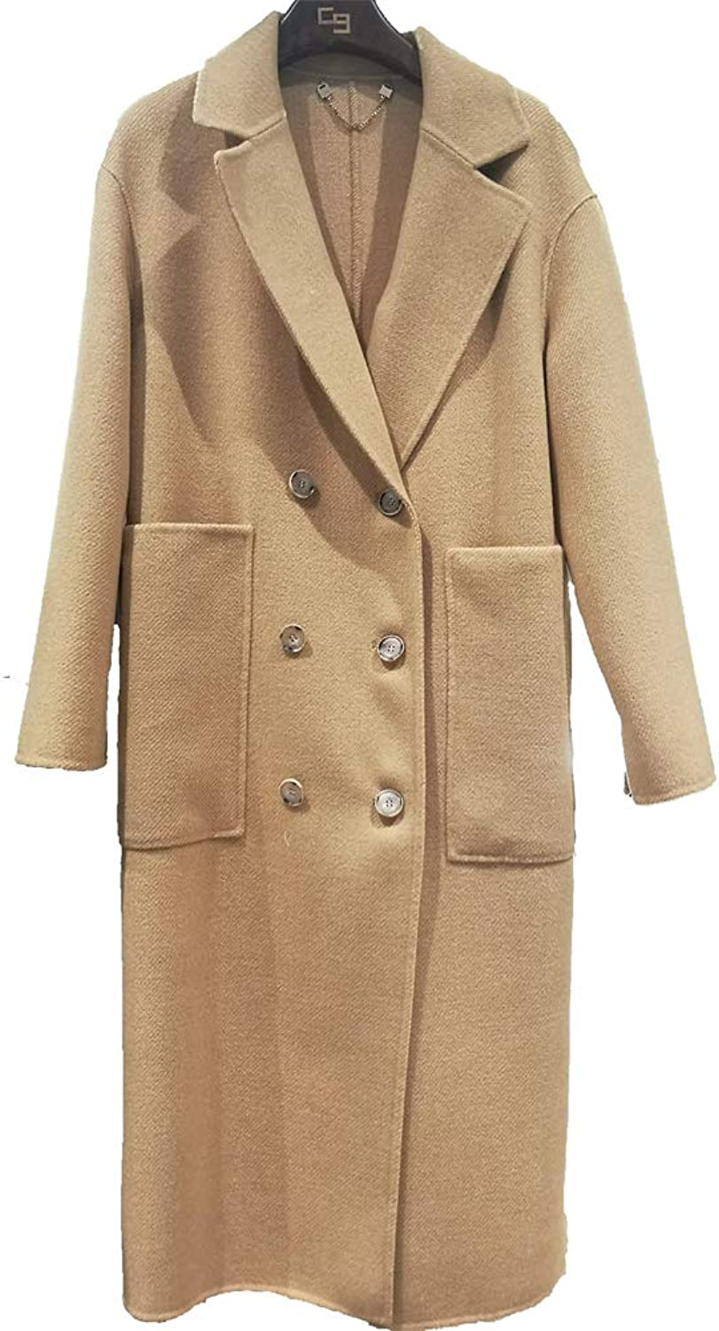 CG Women's Long Coat Lapel DoubleBreasted Wool Slim Parka Jacket Cardigan Overcoat G018