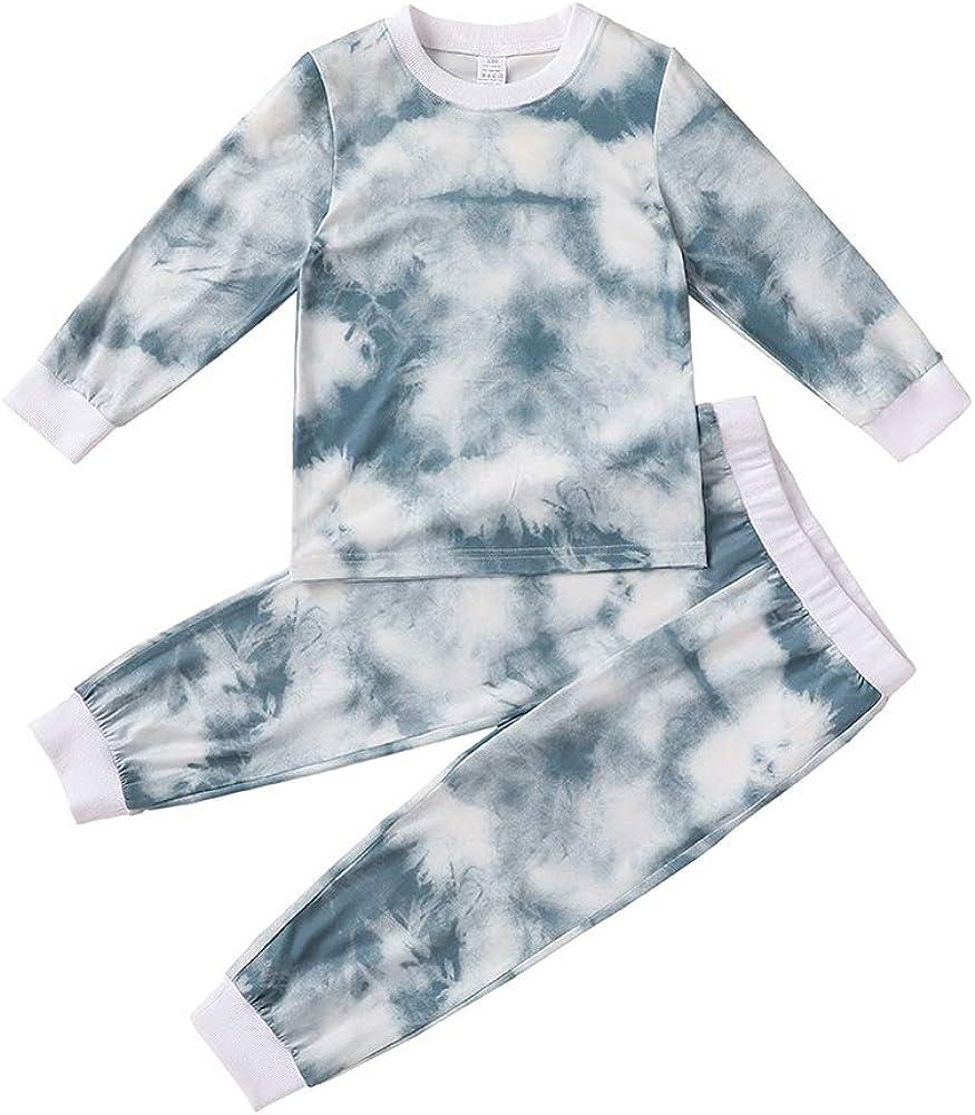 Toddler Baby Boy Girl Tie-Dye Outfits Unisex Long Sleeve Tops +Long Pants 2Pcs Pyjamas Set Fall Winter Clothes Tracksuit Set