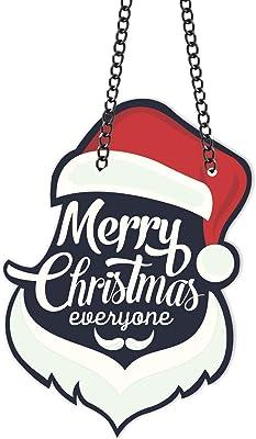 Yaya Cafe™ Christmas Gifts Decoration Ornaments Merry Christmas Everyone Santa Wall Door Hanging - 9.5x13 inches