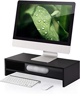 FITUEYES Wood 2 Tiers Monitor Stand Fax/Printer Riser Desk with Keyboard Storage Space fit Telephone Laptop PC LCD LED TVs...