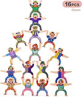 Wooden Stacking Games, Herculed Acrobatic Troupe Interlock Toys, ABS Plastic Stacking Balancing Blocks Games Toddler Educational Toys for 3 4 5 6 7 Years Old Kids Infants Adults 16 Pieces Clown