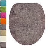 PROHEIM Housse pour abattant WC de 47 x 36 cm - Couverture d'abattant WC Ovale 1200 g/m², Couleur:Taupe