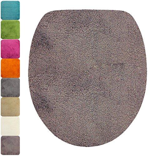 DILUMA WC-Deckel-Bezug Flauschiger Toilettendeckelbezug Klodeckelbezug mit Gummizug Premium Badteppich oval 1200 g/m² weich & kuschelig Hochflor, Farbe:Taupe