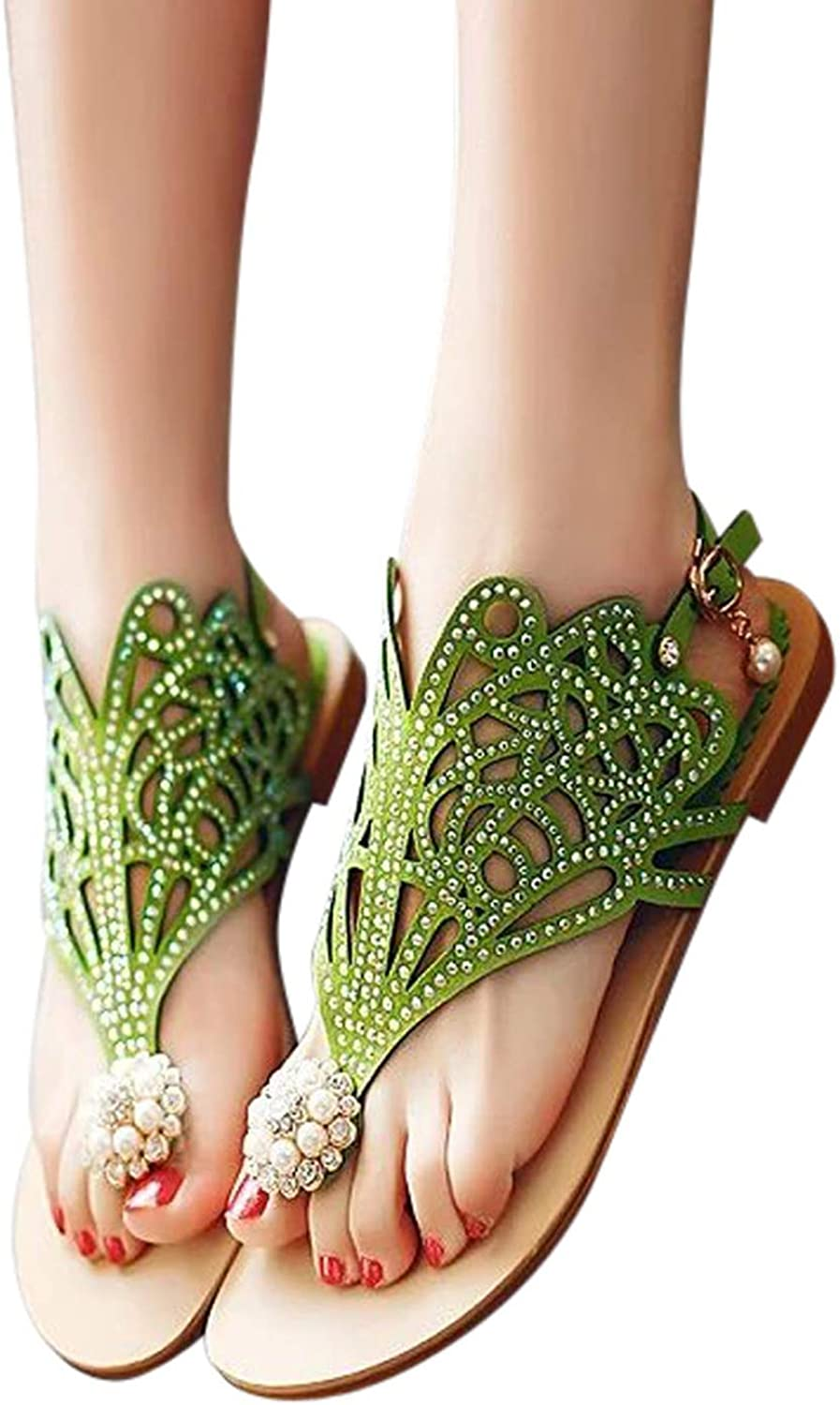 Vintage Summer Style Women shoes Wedge High Heels Rhinestones Beach Rome Sandals Slipper