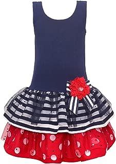 Bonnie Jean Girls Americana Navy Bow Flower Stripes Polka Dots