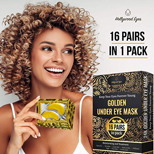 61FHVZmG7DL - Under Eye Patches, 24K Gold Collagen Eye Mask, Dark Circles and Wrinkles Treatment, Anti-aging, Gel Pads for Puffiness and Bags, Immune System Support for Eyes, With Hyaluronic Acid, Deep Moisturizing