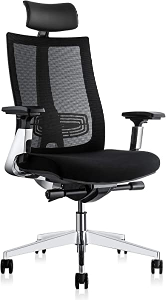 Ergonomic Adjustable Office Chair Computer Desk Chair With Lumbar Support High Back With Breathable Mesh 3D Armrest Comfortable Glide Seat Cushion And Aluminum Alloy Frame Recliner