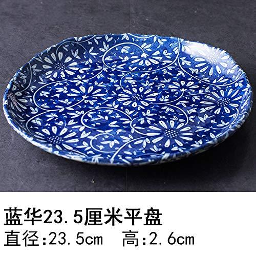 YUWANW Japon Vaisselle en Porcelaine Importée Plaque De Céramique Les Importations Japonaises De Plat Dessert Saladier Plat Bol, Plat Bleu Hua 23,5 Cm Ohira