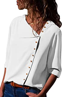 Womens Solid Roll Sleeve Button Detail Shirt Loose Fit Casual Blouses Tops (S-XXL)